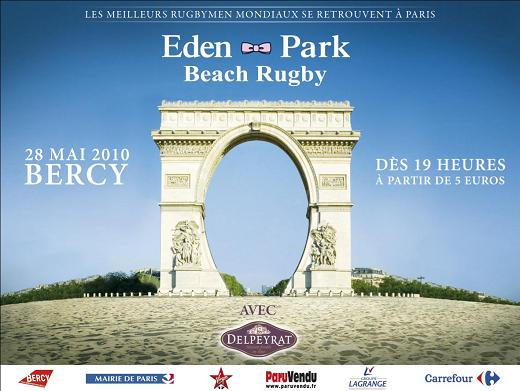 L&#039;affiche de l&#039;dition 2010 de l&#039;Eden Park Beach Rugby