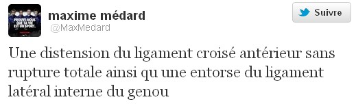 Maxime Mdard annonce sa blessure sur Twitter